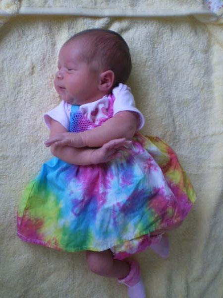 Indiana in a tie dye dress